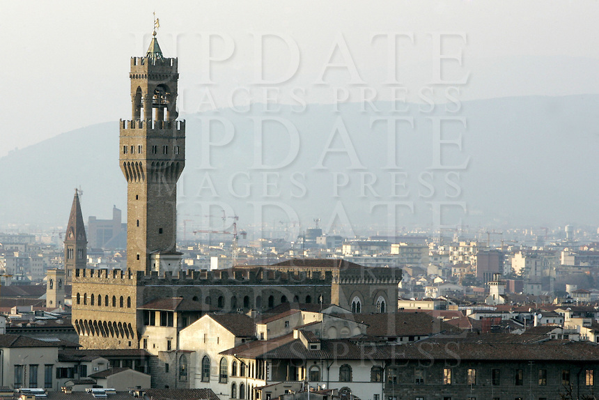 Veduta di Palazzo Vecchio, in Piazza Signoria, a Firenze.<br /> A view of Palazzo Vecchio, in Piazza della Signoria, Florence.<br /> UPDATE IMAGES PRESS/Riccardo De Luca