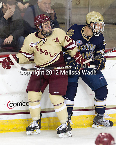 Steven Whitney (BC - 21), Mike Voran (Notre Dame - 16) - The Boston College Eagles defeated the visiting University of Notre Dame Fighting Irish 3-1 (EN) on Friday, November 9, 2012, at Kelley Rink in Conte Forum in Chestnut Hill, Massachusetts.