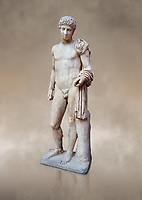 Roman marble statue of Hermes found at Aigion, Pelopenese. 27 BC - 14 AD. Athens Archaeological Museum Cat No 241.<br /> <br /> Hermes is depicted standing wearing a chalamys that is wound around his lest arm. In his right hand he holds a purse and in his left a 'caduceus'. Augustan Roman period