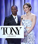 Leslie Odom Jr. and Katharine McPhee attend the 2018 Tony Awards Nominations Announcement at The New York Public Library for the Performing Arts on May 1, 2018 in New York City.