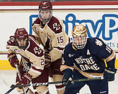 Matthew Gaudreau (BC - 21), JD Dudek (BC - 15), Jake Evans (Notre Dame - 18) - The Boston College Eagles defeated the University of Notre Dame Fighting Irish 6-4 (EN) on Saturday, January 28, 2017, at Kelley Rink in Conte Forum in Chestnut Hill, Massachusetts.The Boston College Eagles defeated the University of Notre Dame Fighting Irish 6-4 (EN) on Saturday, January 28, 2017, at Kelley Rink in Conte Forum in Chestnut Hill, Massachusetts.