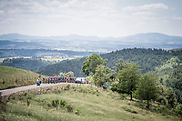 peloton climbing up the Mur d'Aurec-sur-Loire (3.2km at 10.8%)<br /> <br /> Stage 9: Saint-Étienne to Brioude (170km)<br /> 106th Tour de France 2019 (2.UWT)<br /> <br /> ©kramon