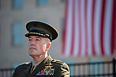 General Joseph Dunford, Chairman of the Joint Chiefs of Staff, listens during a ceremony to commemorate the September 11, 2001 terrorist attacks with U.S. President Donald Trump, not pictured, at the Pentagon in Washington, D.C., U.S., on Monday, Sept. 11, 2017. Trump is presiding over his first 9/11 commemoration on the 16th anniversary of the terrorist attacks that killed nearly 3,000 people when hijackers flew commercial airplanes into New York's World Trade Center, the Pentagon and a field near Shanksville, Pennsylvania. <br /> Credit: Andrew Harrer / Pool via CNP