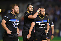 Elliott Stooke and Tom Dunn of Bath Rugby. European Rugby Champions Cup match, between Bath Rugby and Benetton Rugby on October 14, 2017 at the Recreation Ground in Bath, England. Photo by: Patrick Khachfe / Onside Images