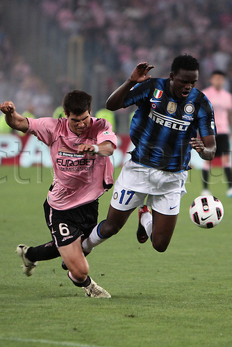 29.05.2011. Final Coppa Italia (Tim Cup) Stadio Olimpico, Rome, Italy. Munoz of Palermo  battles with Mariga of Inter Milan during the Final Tim Cum match Inter Milan versus Palermo at the Olipic Stadium on Italy.