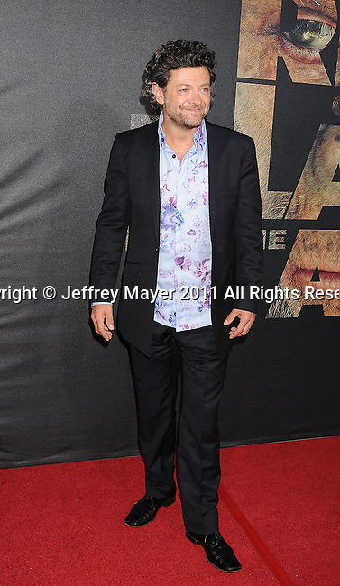"HOLLYWOOD, CA - JULY 28: Andy Serkis arrives at the ""Rise Of The Planet Of The Apes"" Los Angeles Premiere at Grauman's Chinese on July 28, 2011 in Hollywood, California."