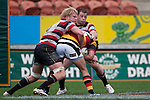 Jamie Chipman & Mark Selwyn make a defensive tackle. ITM Cup rugby game between Waikato and Counties Manukau, played at Waikato Stadium, Hamilton on Saturday 28th August 2010..Waikato won 39 - 3.