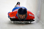 14 December 2007: Sergei Chudinov, racing for Russia, exits the last turn heading for the finish line at the FIBT World Cup Skeleton Competition at the Olympic Sports Complex on Mount Van Hovenberg, at Lake Placid, New York, USA. ..Mandatory Photo Credit: Ed Wolfstein Photo
