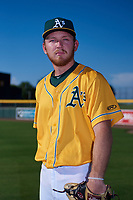 AZL Athletics Gold Brock Whittlesey (72) poses for a photo before an Arizona League game against the AZL Rangers on July 15, 2019 at Hohokam Stadium in Mesa, Arizona. The AZL Athletics Gold defeated the AZL Rangers 9-8 in 11 innings. (Zachary Lucy/Four Seam Images)