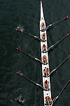 Seattle, Rowing, Windermere Cup Regatta, Martha's Moms Rowing Club, masters women eight oared racing shell from above, Montlake Cut, Washington State, Pacific Northwest,.