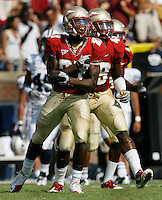 TALLAHASSEE, FL 9/18/10-FSU-BYU FB10 CH-Florida State's Xavier Rhodes celebrates making an interception against Brigham Young during first half action Saturday at Doak Campbell Stadium in Tallahassee. .COLIN HACKLEY PHOTO