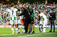 GRONINGEN - Voetbal, FC Groningen - FC Twente, Eredivisie, seizoen 2019-2020, 10-08-2019, Adri Podervaart met FC Groningen speler Ritsu Doan