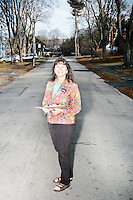 Kathy Peterson, of Nashua, is a campaign volunteer for Kentucky senator and Republican presidential candidate Rand Paul in Nashua, New Hampshire. She canvassed a Nashua neighborhood after a short diner stop by the candidate earlier that morning. The canvassing efforts were mostly to determine which candidates and policies likely voters in the neighborhood were interested in.