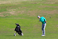 Tiernan McLarnon from Ireland on the 3rd fairway during Round 2 Singles of the Men's Home Internationals 2018 at Conwy Golf Club, Conwy, Wales on Thursday 13th September 2018.<br /> Picture: Thos Caffrey / Golffile<br /> <br /> All photo usage must carry mandatory copyright credit (&copy; Golffile | Thos Caffrey)