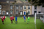 Nelson 3 Daisy Hill 6, 12/10/2019. Victoria Park, North West Counties League, First Division North. Second-half action as Nelson (in blue) hosted Daisy Hill at Victoria Park. Founded in 1881, the home club were members of the Football League from 1921-31 and has played at their current ground, known as Little Wembley, since 1971. The visitors won this fixture 6-3, watched by an attendance of 78. Photo by Colin McPherson.