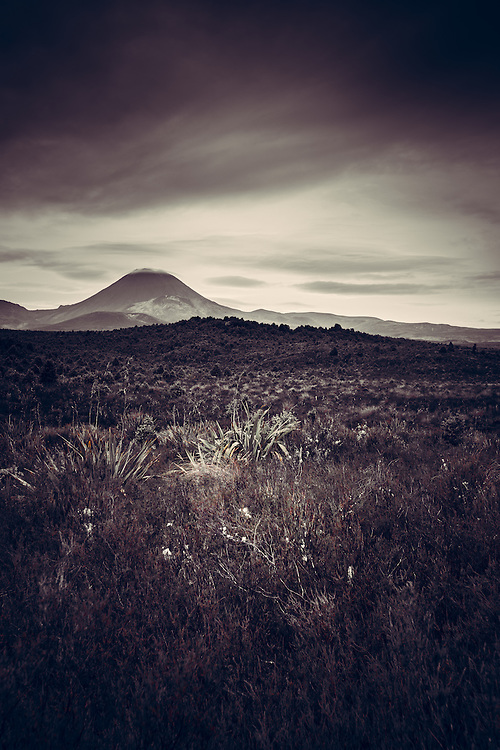 Cloud cap over Mt Ngaurahoe, North Island, New Zealand - stock photo, canvas, fine art print