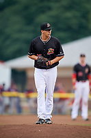 Batavia Muckdogs starting pitcher Peyton Culbertson (35) gets ready to deliver a pitch during a game against the Lowell Spinners on July 14, 2018 at Dwyer Stadium in Batavia, New York.  Lowell defeated Batavia 8-4.  (Mike Janes/Four Seam Images)
