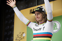 World Champion Peter Sagan (SVK/Tinkoff) on the podium to receive his green jersey<br /> <br /> stage 10: Escaldes-Engordany (AND) - Revel (FR)<br /> 103rd Tour de France 2016