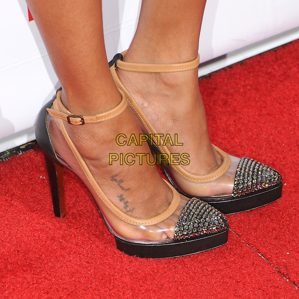 "Zoe Saldana's shoes.The Trevor Project's ""Trevor Live"" 2012 held at the Hollywood Palladium, Hollywood, California, USA..December 2nd, 2012.feet heels detail pink ankle strap beige clear plastic.CAP/ADM/BP.©Byron Purvis/AdMedia/Capital Pictures."
