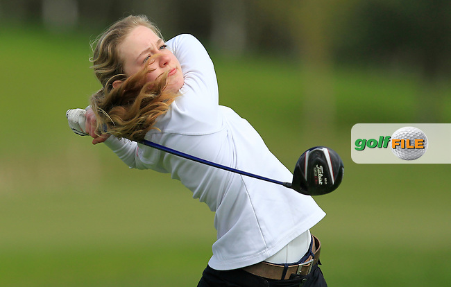 Christin Eisenbeib (GER) on the 13th tee during Round 3 of the Irish Girl's Open Stroke Play Championship at Roganstown Golf &amp; Country Club on Sunday 17th April 2016.<br /> Picture:  Thos Caffrey / www.golffile.ie