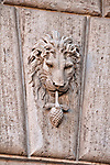 Detail of a stone lion; architecture in Rome, Italy