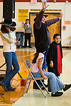 25th Annual Western Folklife Center Cowboy Poetry Gathering in Elko, Nev...Milton Taylor from Australia performs before about 245 kids at the Owyhee Combined School in Owyhee on the Nevada-Oregon border..Duck Valley Indian Reservation