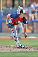 Hagerstown Suns pitcher Matthew Crownover (14) delivers a pitch during a game against the Asheville Tourists at McCormick Field on April 28, 2016 in Asheville, North Carolina. The Tourists were leading the Suns 6-5 when the game was delayed in the top of the 6th inning due to darkness. (Tony Farlow/Four Seam Images)