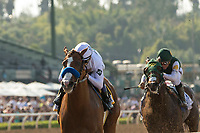 ARCADIA, CA  APRIL 7:  #6 Justify, ridden by Mike Smith,  wins the Santa Anita Derby (Grade l) on April 7, 2018, at Santa Anita Park in Arcadia, Ca.  (Photo by Casey Phillips/ Eclipse Sportswire/ Getty Images)