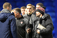 Rotherham United Manager Paul Warne right talks to Sean Raggett (r) of Portsmouth who was on loan at Rotherham United last season during Portsmouth vs Rotherham United, Sky Bet EFL League 1 Football at Fratton Park on 26th November 2019