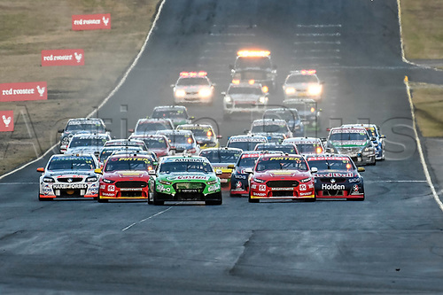 August 19th 2017, Sydney Motorsport Park, Sydney, Australia; Red Rooster Sydney SuperSprint; Mark Winterbottom from Prodrive Racing Australia in his Ford Falcon FG X gets the lead from the start of race 17 of the series;