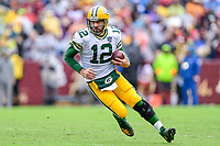 Landover, MD - September 23, 2018: Green Bay Packers quarterback Aaron Rodgers (12) scrambles and rolls out of the pocket during game between the Green Bay Packers and the Washington Redskins at FedEx Field in Landover, MD. The Redskins get the win 31-17 over the visiting Packers. (Photo by Phillip Peters/Media Images International)