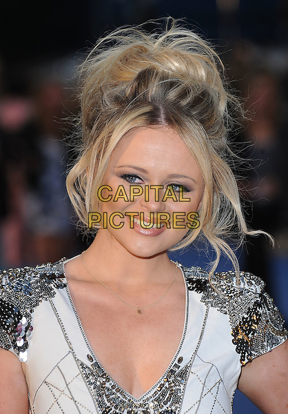 "EMILY ATACK.""The Life And Death Of Charlie St. Cloud"" UK film premiere, Empire Cinema, Leicester Square, London, England, UK. .16th September 2010 .headshot portrait black white black silver beaded shoulders epaulettes hair up beauty make-up embellished .CAP/BEL.©Tom Belcher/Capital Pictures."