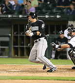 Brett Carroll of the Florida Marlins gets his first major league hit vs. the Chicago White Sox: June 19th, 2007 at U.S. Cellular Field in Chicago, IL.  Photo copyright Mike Janes Photography 2007.