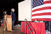 February 16, 2012. Raleigh, NC.. Wake County sheriff Donnie Harrison led the pledge of allegiance..  The North Carolina Republicans held their 2012 Precinct Meeting at Dorton Arena with former Charlotte mayor Pat McCrory as the key note speaker.