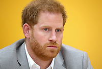 11 April 2019 - Prince Harry, Duke of Sussex listens to members of Barking and Dagenham (BAD) Youth Forum and Youth Zone members as they share their perspectives and experiences of knife crime during the official opening of the Barking & Dagenham Future Youth Zone in Dagenham, England.  The facility is created by the Charity OnSide Youth Zones and is the first of three facilities expected to open in 2019, which will provide a safe environment where young people can come and enjoy themselves, build key skills and raise their aspirations and confidence to create a happier and healthier generation. Photo Credit: ALPR/AdMedia