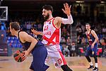 Turkish Airlines Euroleague 2017/2018.<br /> Regular Season - Round 28.<br /> FC Barcelona Lassa vs Baskonia Vitoria Gasteiz: 73-86.<br /> Petteri Koponen vs Tornike Shengelia.