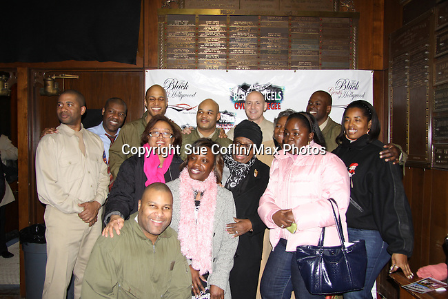 Cast Black Angels - Lamman Rucker, David Boykins, Thaddeus Daniels,  Melvin Huffnagle, Thom Scott II, Steve Brustien, David Roberts, Layon Gray (front) on February 26, 2011 at the Actors Temple Theatre, New York City, New York. (Photo by Sue Coflin/Max Photos)