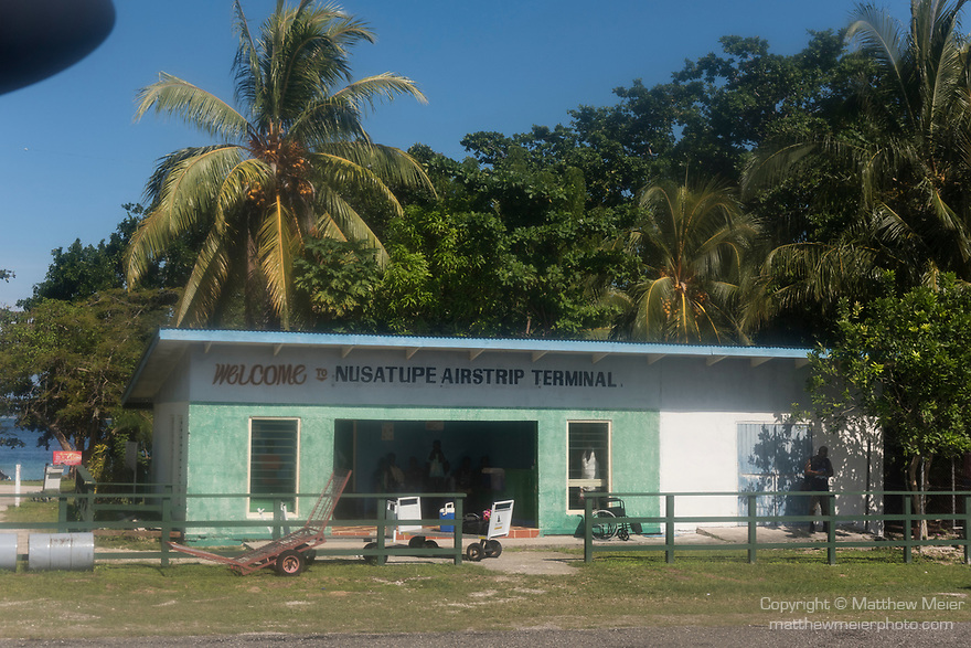 Ghizo Island, Solomon Islands; the airport terminal at Gizo, viewed from the taxiway