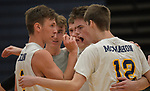 O'Fallon teammates huddle after scoring against Minooka in the Class 4A Belleville East boys volleyball sectional final at Belleville East High School on Tuesday May 28, 2019.<br /> Tim Vizer/Special to STLhighschoolsports.com