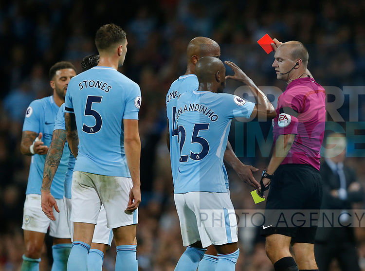 Red card for Kyle Walker of Manchester City during the Premier League match at the Eithad Stadium, Manchester. Picture date 21st August 2017. Picture credit should read: Simon Bellis/Sportimage