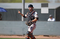 San Francisco Giants catcher Rob Calabrese (12) during a Minor League Spring Training game against the Arizona Diamondbacks at Salt River Fields at Talking Stick on March 28, 2018 in Scottsdale, Arizona. (Zachary Lucy/Four Seam Images)