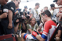 Tom Dumoulin (NLD/Giant-Alpecin) mobbed for interviews after he finished 1st so far...<br /> <br /> Stage 18 (ITT) - Sallanches › Megève (17km)<br /> 103rd Tour de France 2016