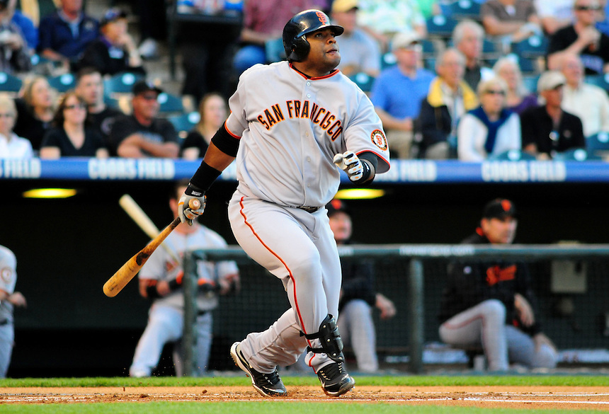 May 6, 2009: Giants 3rd baseman and 2009 National League Most Valuable Player candidate Pablo Sandoval during a game between the San Francisco Giants and the Colorado Rockies at Coors Field in Denver, Colorado. The Rockies beat the Giants 11-1.