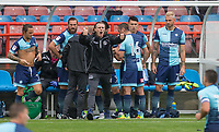 Wycombe Wanderers Manager Gareth Ainsworth gives his team thumbs up as he prepares to make changes during the pre season friendly match between Aldershot Town and Wycombe Wanderers at the EBB Stadium, Aldershot, England on 22 July 2017. Photo by Andy Rowland.