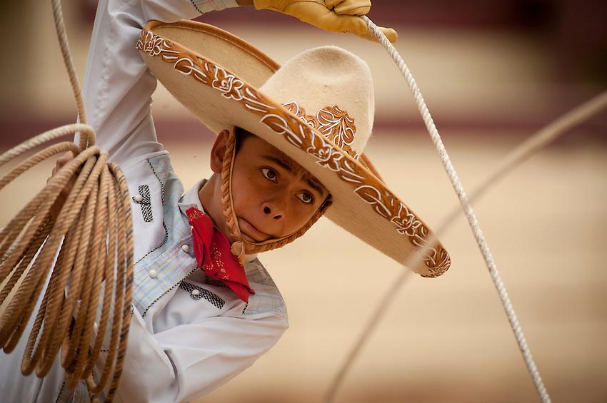 Fifteen-year-old charro Edmund Rios performs during Fiesta Charreada, Sunday, April 29, 2012, at San Antonio Charro Ranch in San Antonio, TX, USA. (Darren Abate/pressphotointl.com)