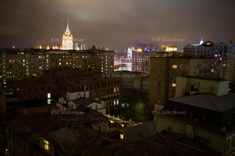 A view of old and new buildings in central Moscow, Russia.