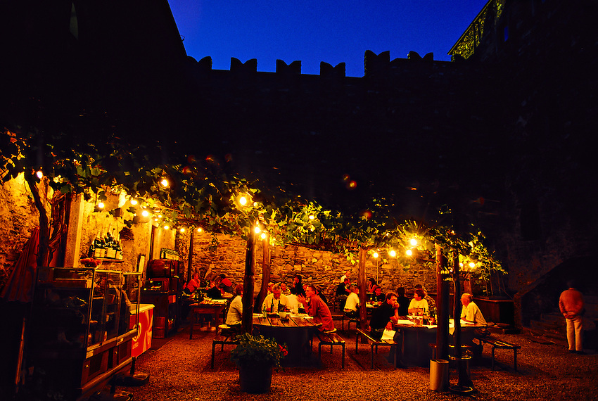 Restaurant at Castello di Sasso Corbaro (castle),  Bellinzona, Ticino, Switzerland