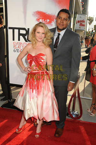 "Tara Buck & guest.HBO's ""True Blood"" Season 5 Premiere, Hollywood, California, USA..May 30th, 2012.full length white pink red strapless dress hand on hip grey gray suit.CAP/ADM/BP.©Byron Purvis/AdMedia/Capital Pictures."