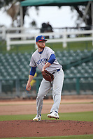 Brady Feigl (27) of the Stockton Ports pitches against the Inland Empire 66ers at San Manuel Stadium on May 26, 2019 in San Bernardino, California. (Larry Goren/Four Seam Images)