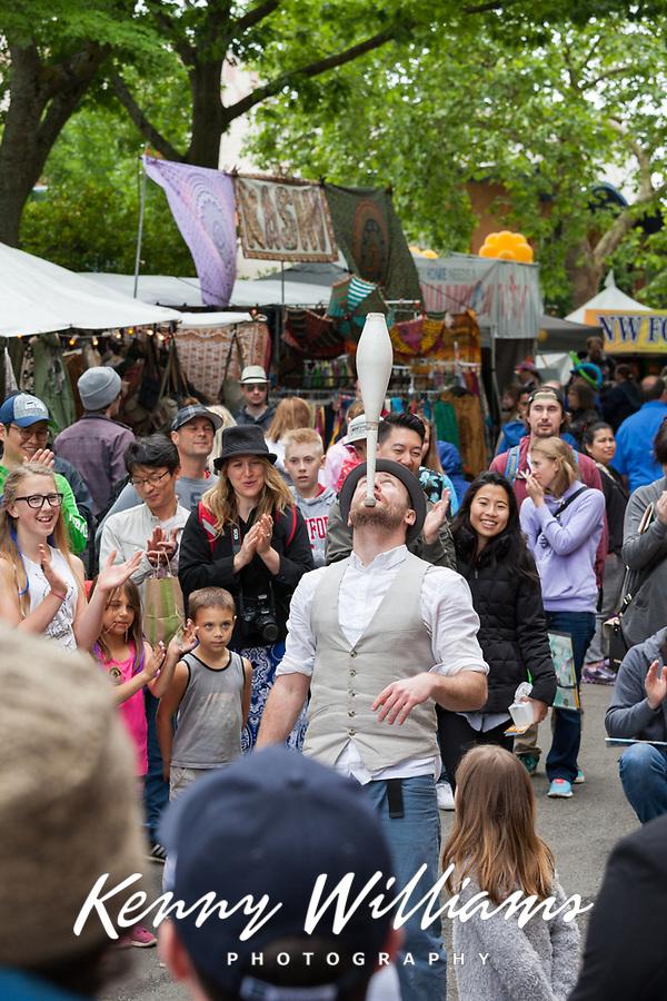 Juggler and street performer, Northwest Folklife Festival 2016, Seattle Center, Washington, USA.